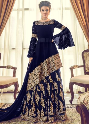 Navy Blue Embroidered Sharara Salwar Kameez - SKVOILE6005-A