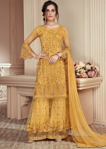 Yellow Net Embroidered Sharara Suit - SKSYBELLA-S906