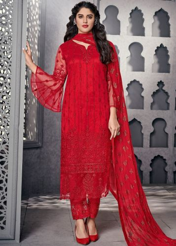 Red Embroidered Bell Sleeved Pant Suit - SKSYBEL1001