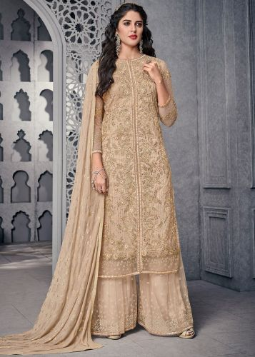 Beige Embroidered Front Slit Palazzo Suit - SKSYBEL1002