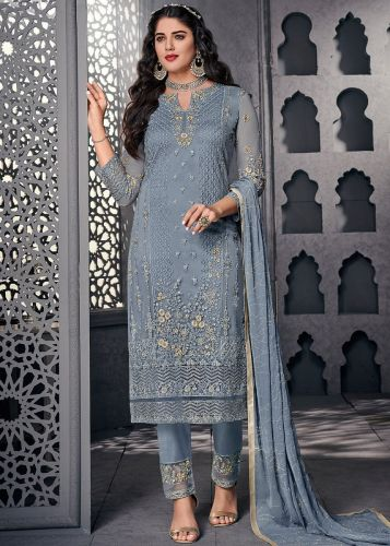Embroidered Blue Straight Cut Pant Suit - SKSYBEL1003