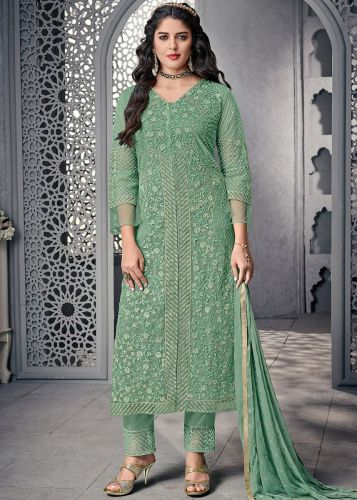 Embroidered Green Straight Cut Pant Suit - SKSYBEL1005