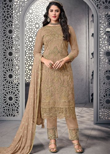 Beige Embroidered Straight Cut Pant Suit - SKSYBEL1006