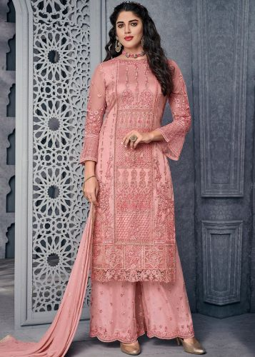 Straight Cut Embroidered Pink Palazzo Suit - SKSYBEL1008