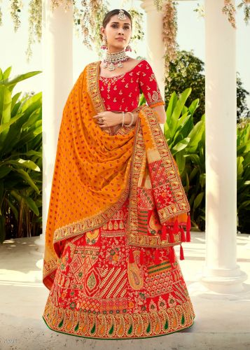 Red Designer Jaquard Silk Lehegna with Heavy Embroidery and Zari/Stone Work -LETATHAST4203