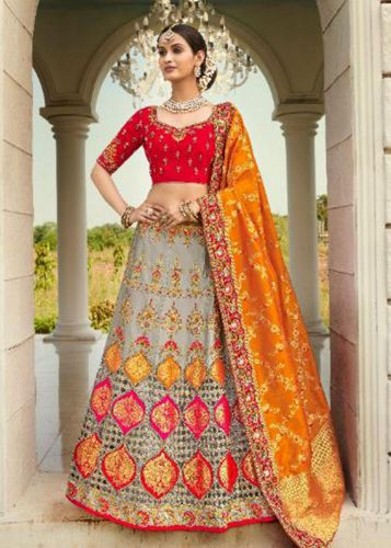 Grey Designer Jaquard Silk Lehegna with Heavy Embroidery and Zari/Stone Work -LETATHAST4205