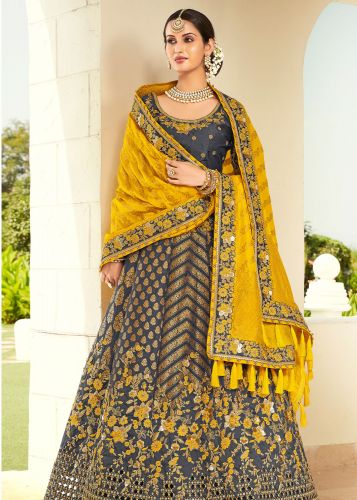 Grey Designer Jaquard Silk Lehegna with Heavy Embroidery and Zari/Stone Work -LETATHAST4209