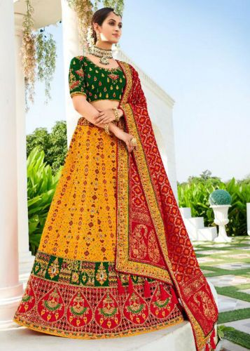 Yellow Designer Jaquard Silk Lehegna with Heavy Embroidery and Zari/Stone Work -LETATHAST4211