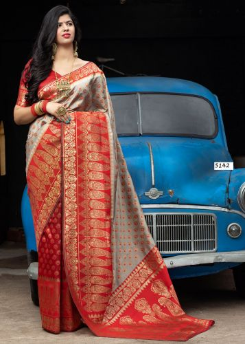 Grey and Red Banarasi Silk  Saree - SARAJWAD5142