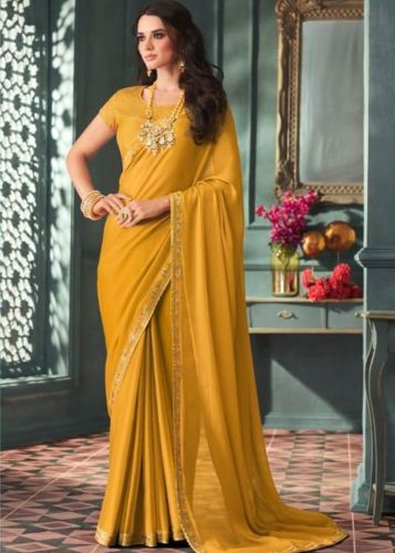 Mustard Yellow Chiffon Party Wear Saree with Embellished Gota Patti Work -SATFHSHINSTAR8103